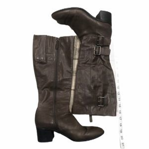 Frank Sarto brown tall boots 7.5M zip up buckles